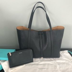 Tiffany & Co Black Textured Tote & Matching Wallet